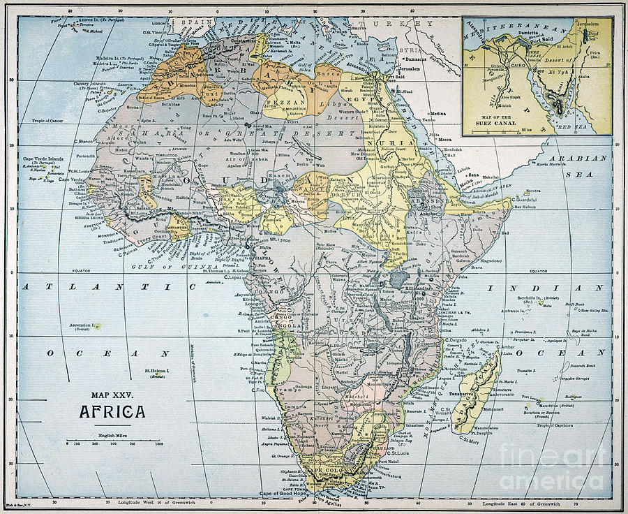 19th Century Africa Map.Map Africa 19th Century Painting By Granger