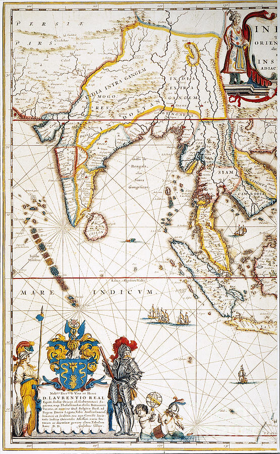 1662 Painting - South Asia Map, 1662 by Granger
