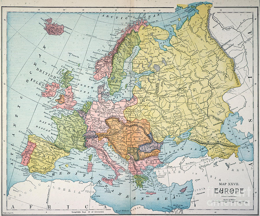 map of europe 1885 Map: Europe, 1885 Painting by Granger