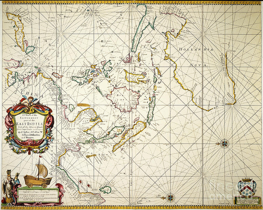 1670 Painting - Map: East Indies, 1670 by Granger