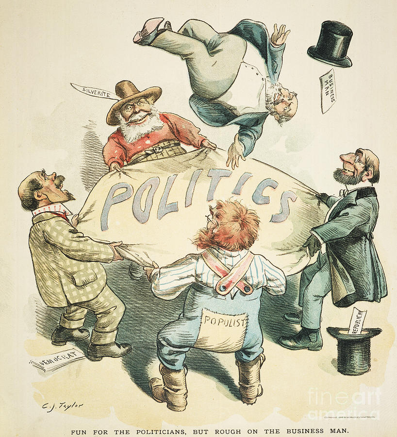 1896 Painting - U.s. Cartoon: Businessman by Granger