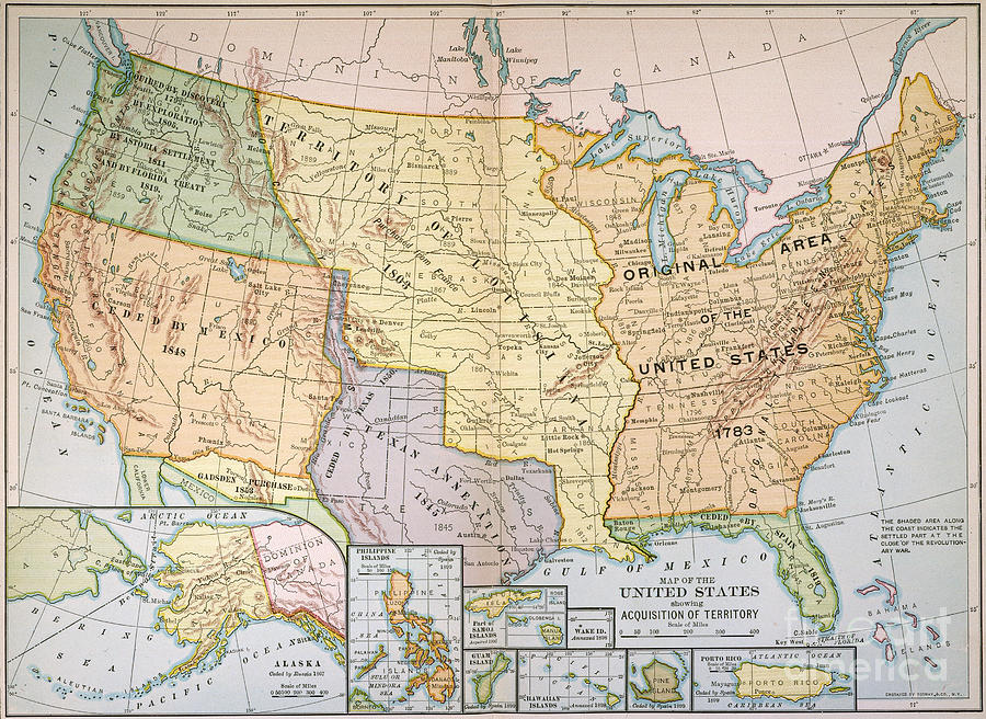 Map Us Expansion 1905 Painting by Granger
