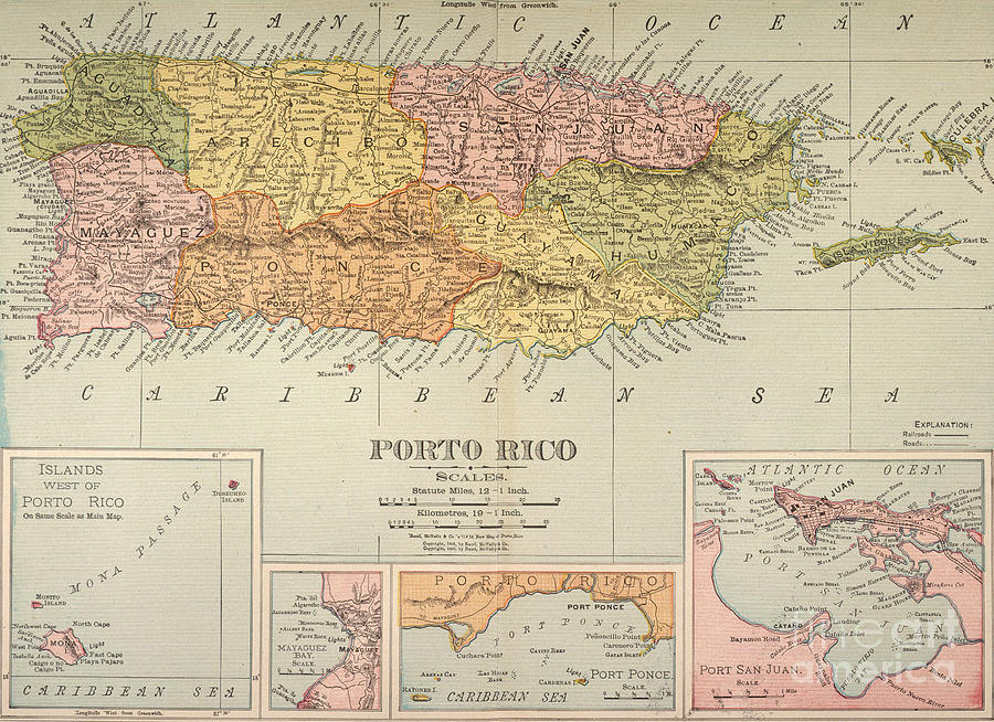 1900 Painting - Map: Puerto Rico, 1900 by Granger