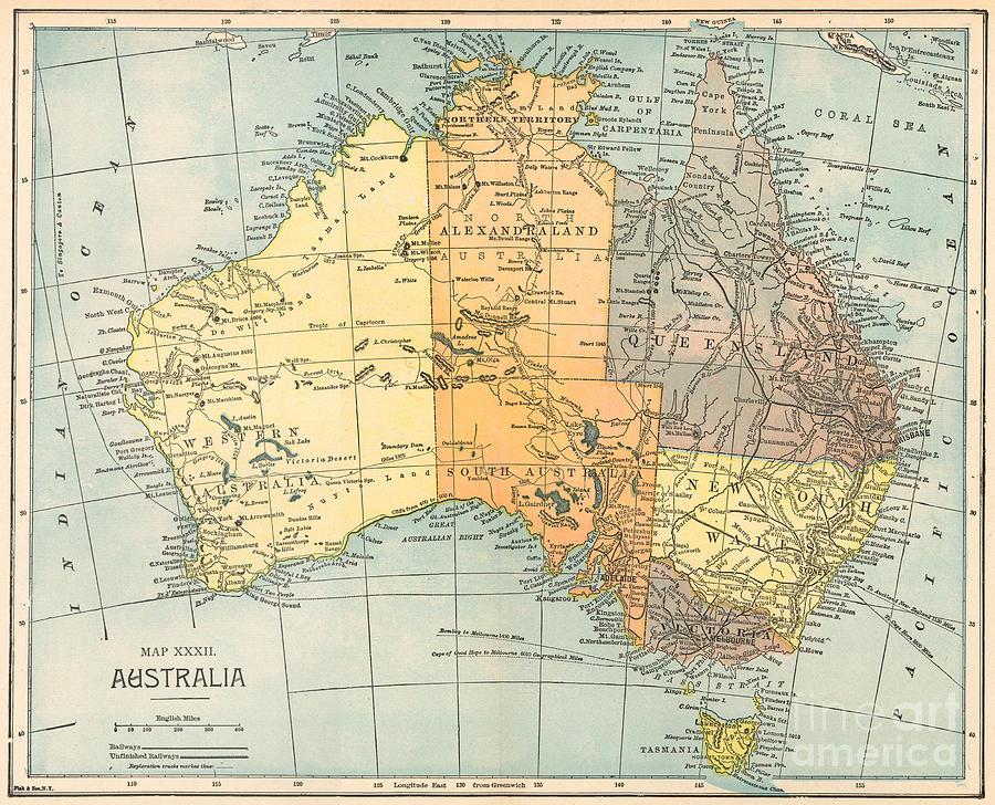 1890 Painting - Map: Australia, C1890 by Granger