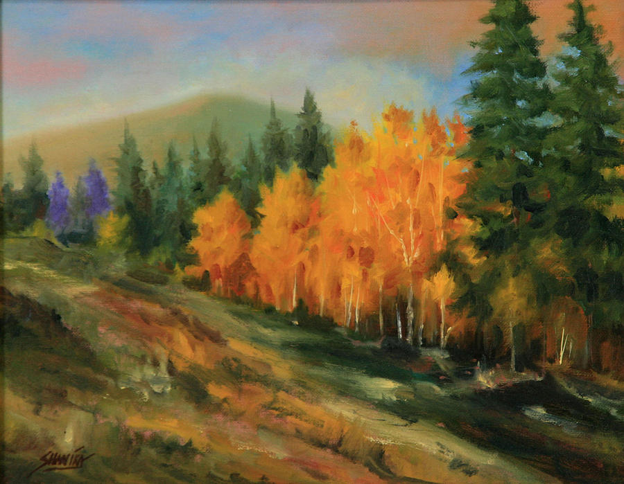 Landscape Painting - 011016-1114  Autumn Aspens by Kenneth Shanika