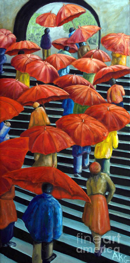 Red Umbrellas Painting - 01149 Climbing Umbrellas by AnneKarin Glass