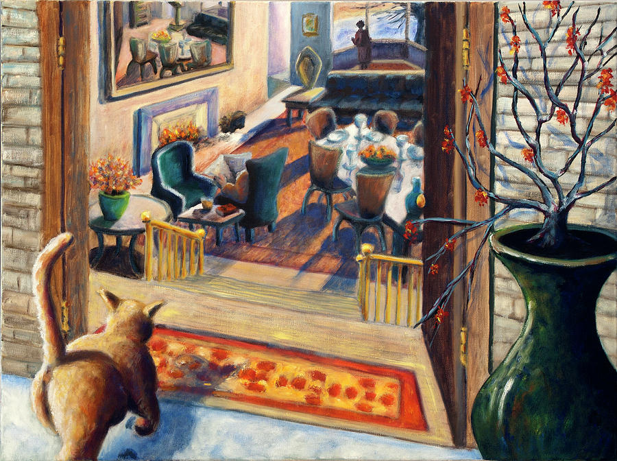 Cat Painting - 01348 Awaiting Guests by AnneKarin Glass