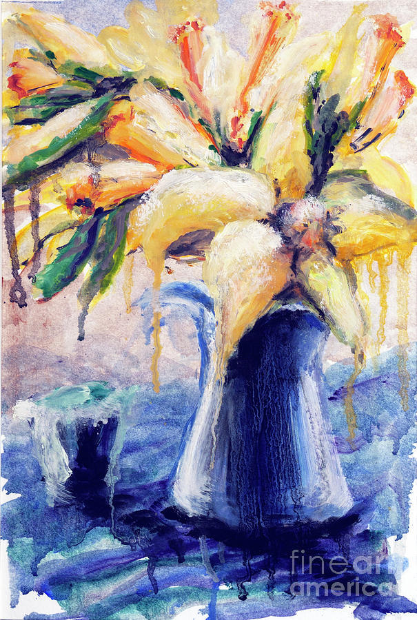 Still Life Painting - 01353 Daffodils by AnneKarin Glass