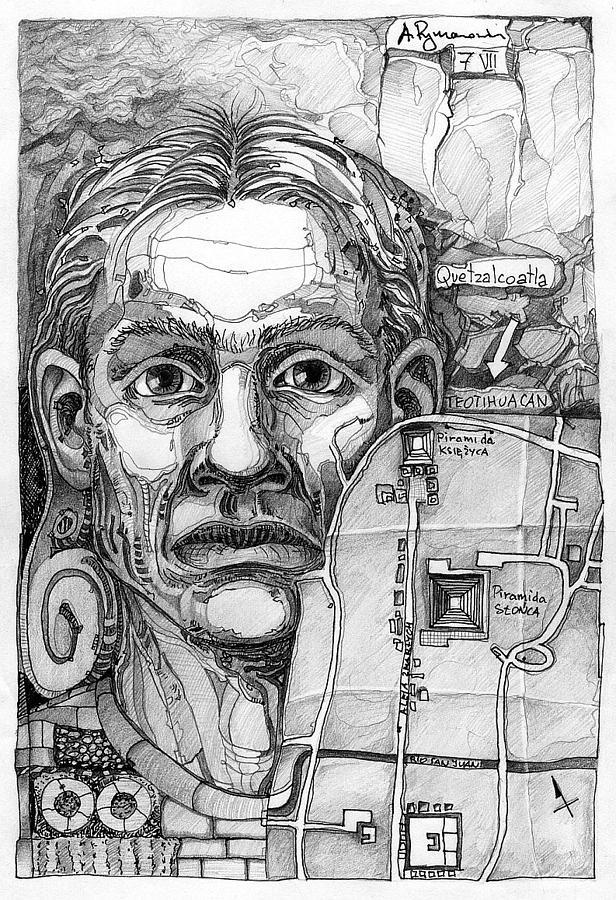 Head Drawing - 016 by Aleksander Rymarowicz