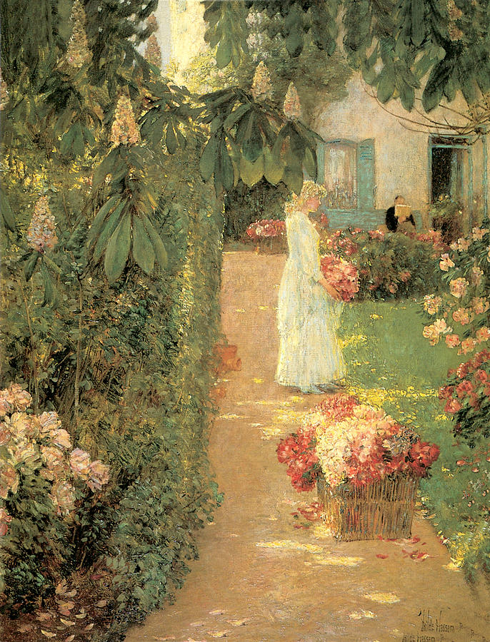 Gathering Flowers In A French Garden Painting by Childe Hassam