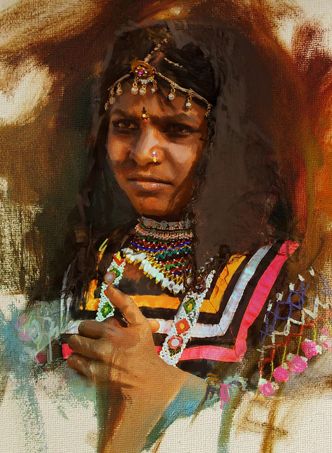Women Painting - 025 Sindh B by Maryam Mughal