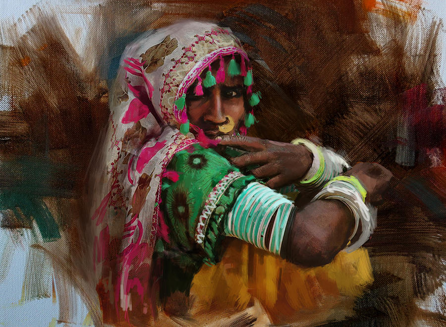 Women Painting - 029 Sindh by Maryam Mughal