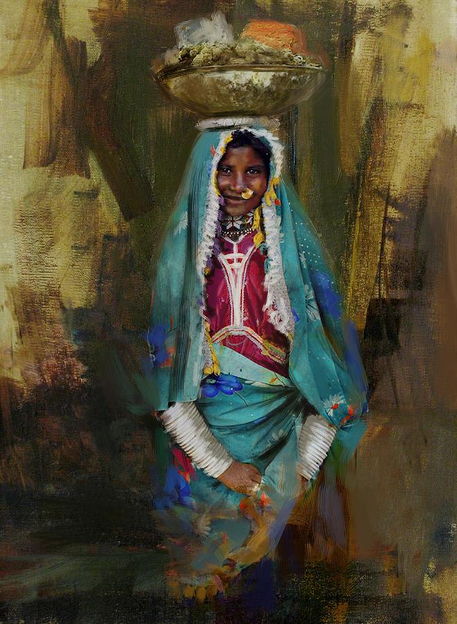 Women Painting - 030 Sindh by Maryam Mughal