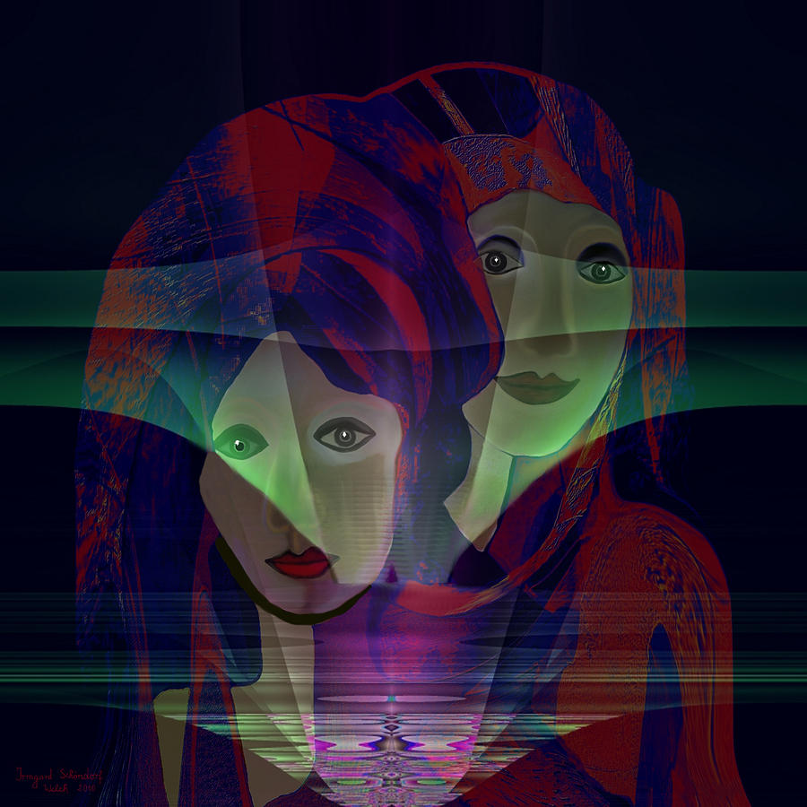 Face Digital Art - 036 - Two Faces Of  Night  by Irmgard Schoendorf Welch