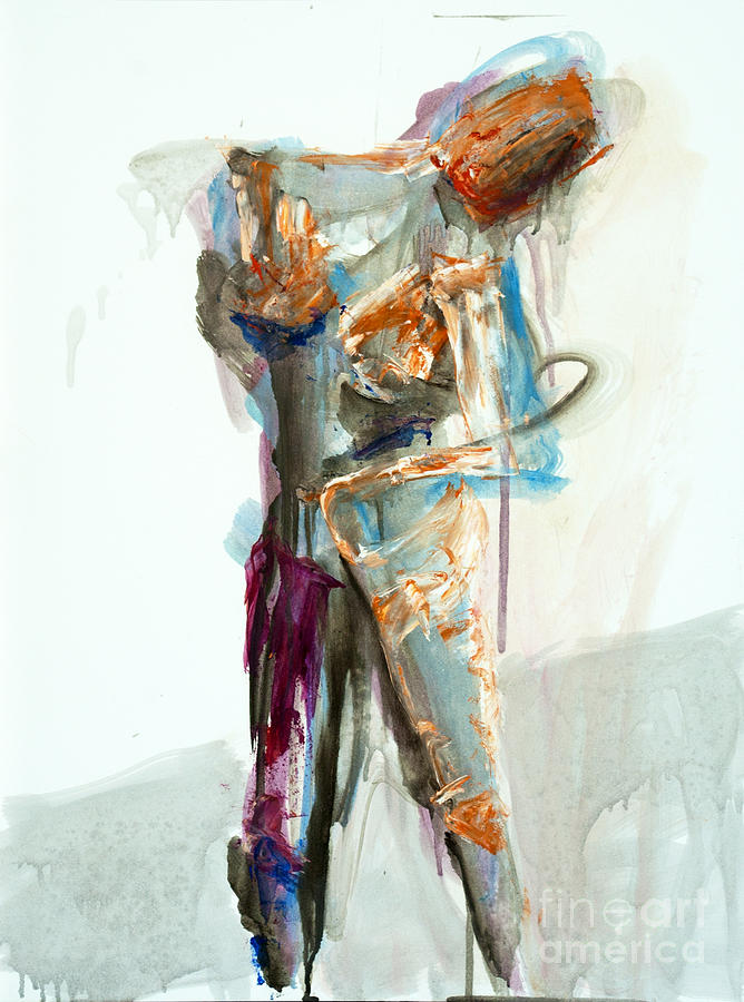 Gesture Painting - 04957 Second Thoughts by AnneKarin Glass