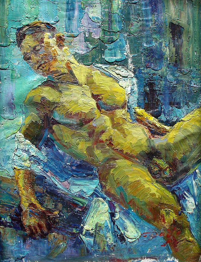 Sexy moody gold male man face giclee painting gay interest modern abstract