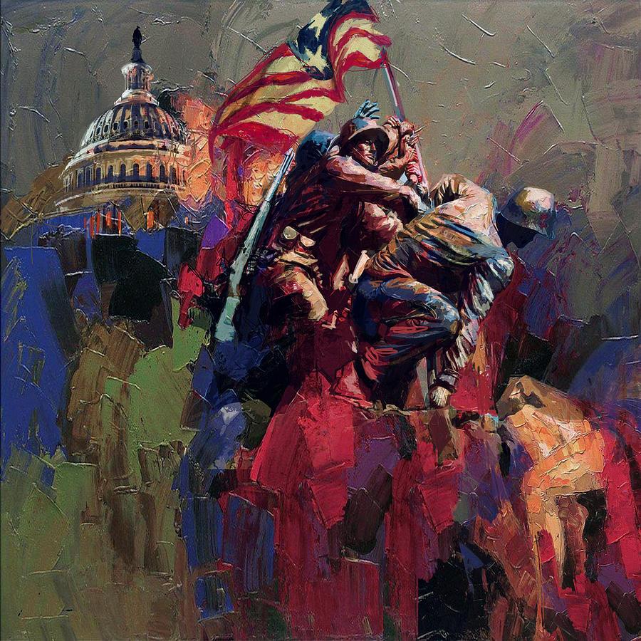 Marine Corps War Memorial Painting - 062 Jima Marine Memorial Washington Dc by Maryam Mughal