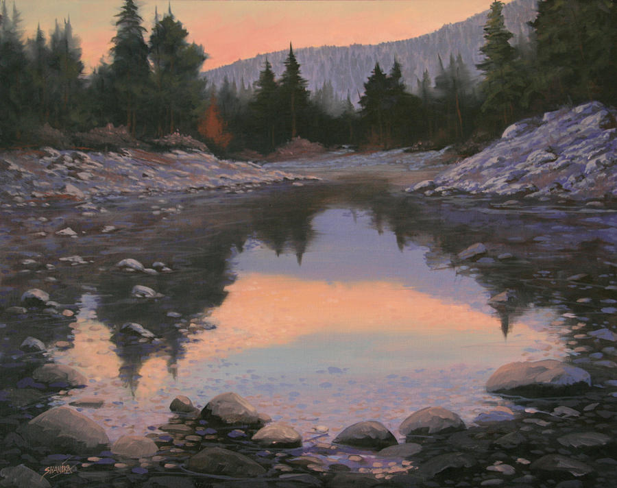 Landscape Painting - 080110-2016  Sundown Reflections by Kenneth Shanika