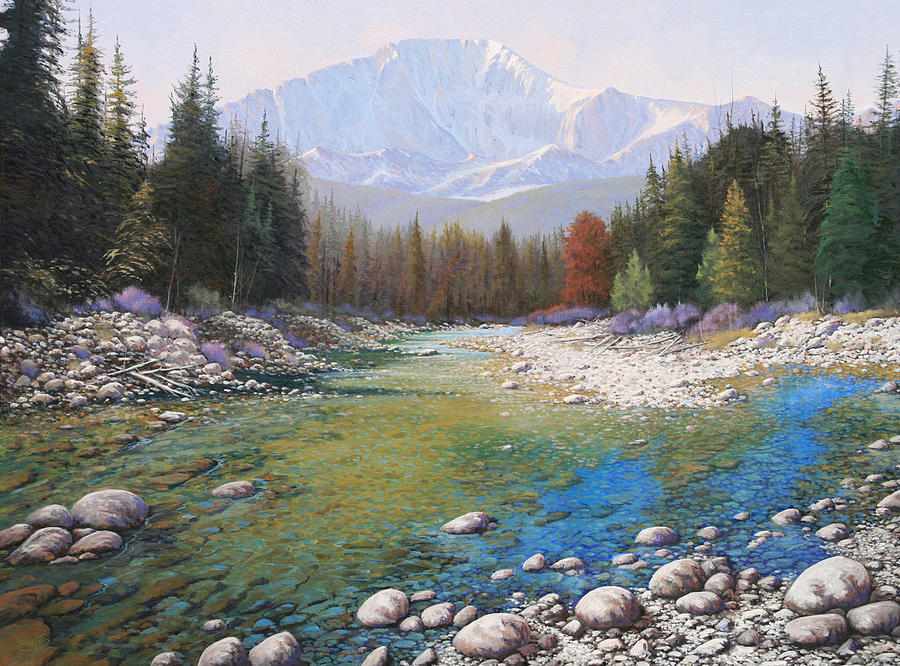 Landscape Painting - 080401-4030 Shallow Waters - Pikes Peak by Kenneth Shanika