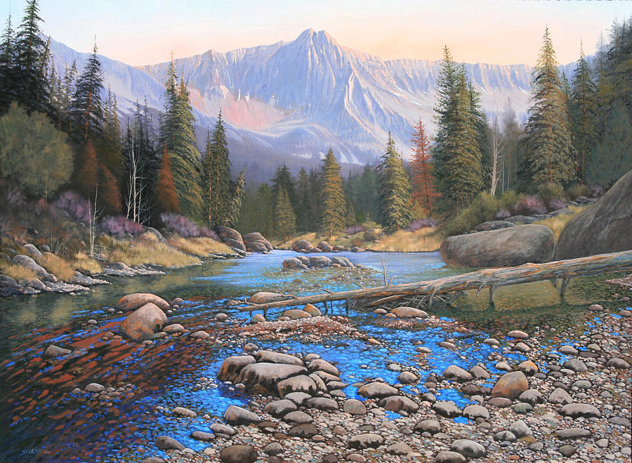 Rocky Mountain Landscape Painting - 080503-4836  Late Summer Run-Off by Kenneth Shanika