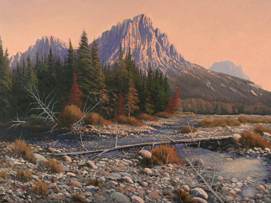 Rocky Mountain Landscape Painting - 080525-1620  Fading Light On Horse Thief Creek by Kenneth Shanika
