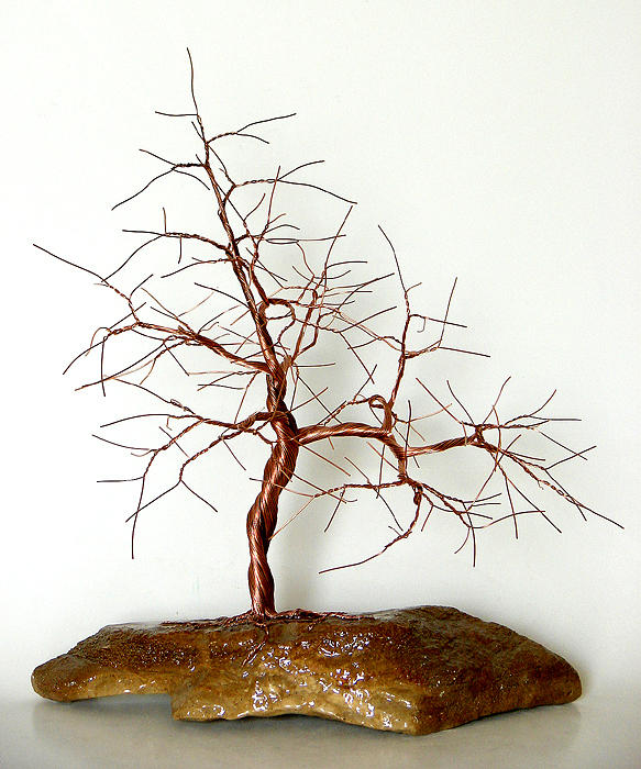 Wire Tree Sculpture Mixed Media - 0853 Copper Wire Tree by Omer Huremovic
