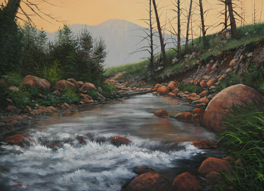 Landscape Painting - 090430-1216   Trout Creek - Spring by Kenneth Shanika
