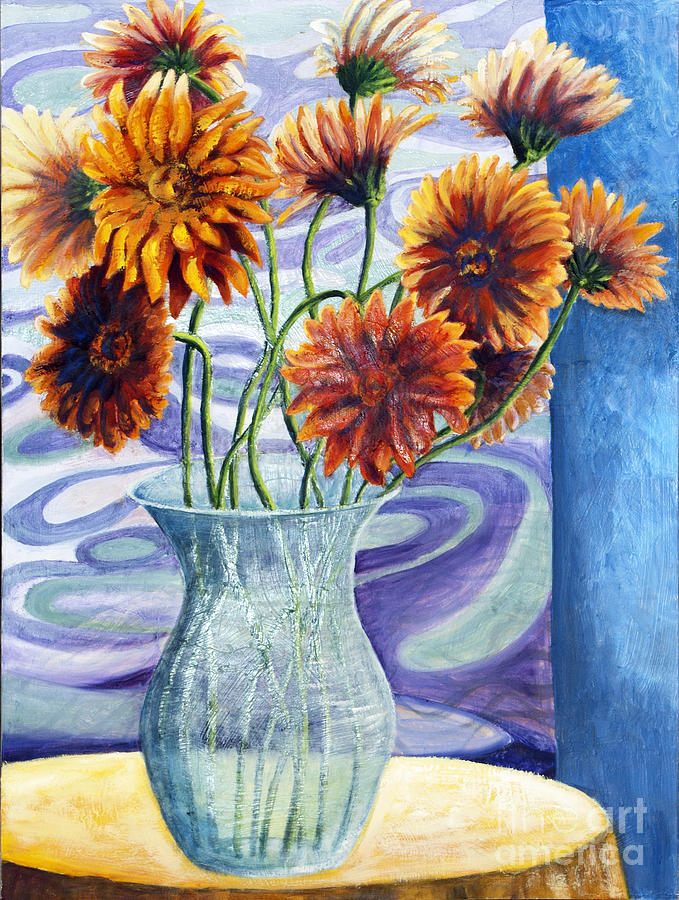 01305 Orange African Daisies Painting by AnneKarin Glass