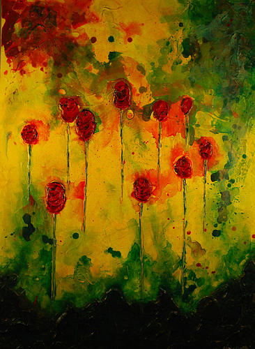 10 Red Roses  Painting by Marabeth Quin