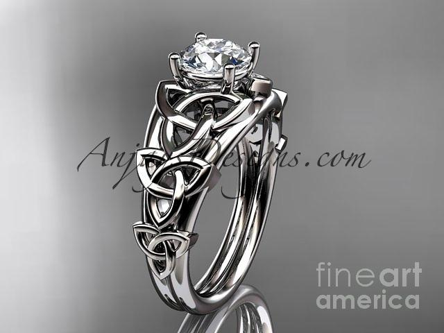 Leaf Engagement Ring Jewelry - 14kt White Gold Celtic Trinity Knot Engagement Ring , Wedding Ring Ct765 by AnjaysDesigns com