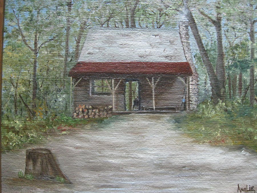 1800 log cabin painting by amelie gates for Log cabin painting