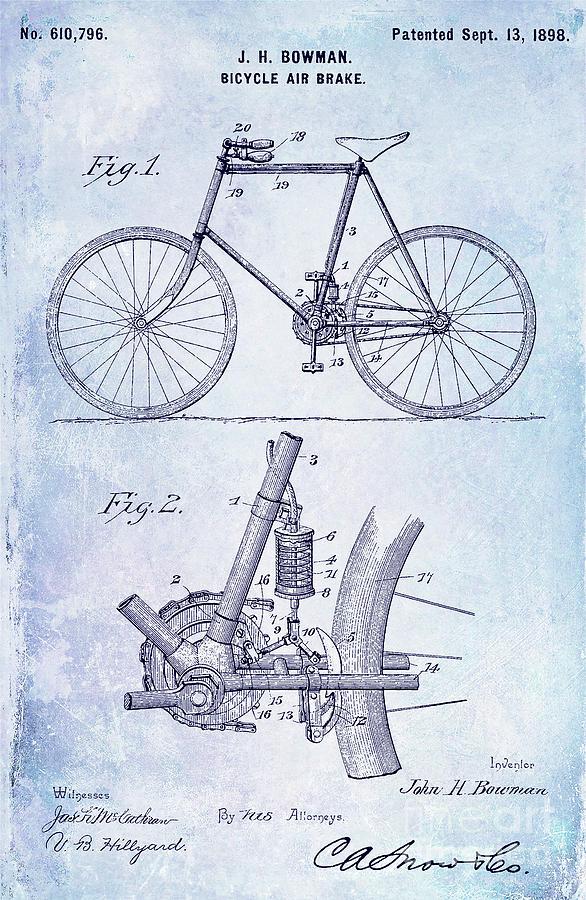 1893 bicycle patent blueprint digital art by jon neidert 1893 digital art 1893 bicycle patent blueprint by jon neidert malvernweather Images