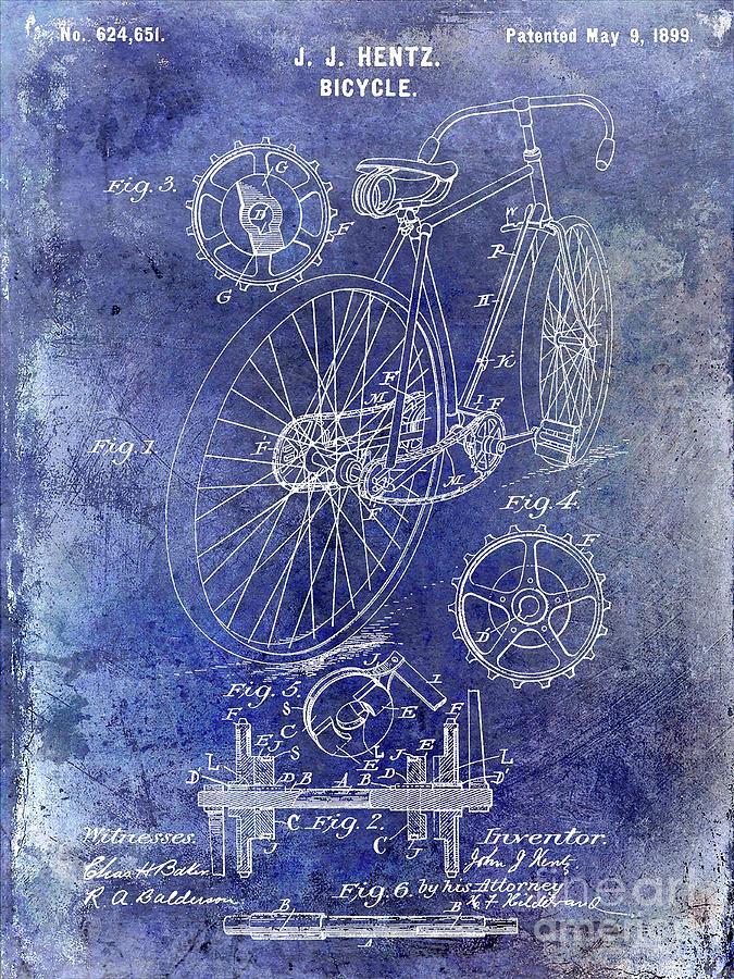 1899 Digital Art - 1899 Bicycle Patent 1 by Jon Neidert