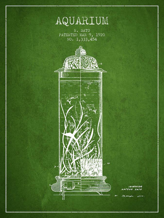 1902 Aquarium Patent - Green Digital Art