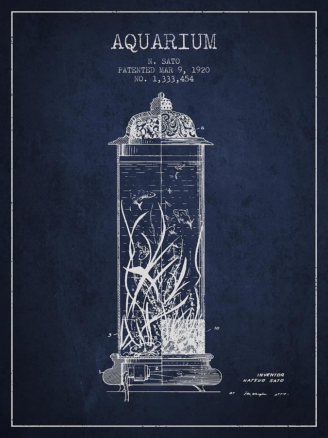 Fish Bowl Digital Art - 1902 Aquarium Patent - Navy Blue by Aged Pixel