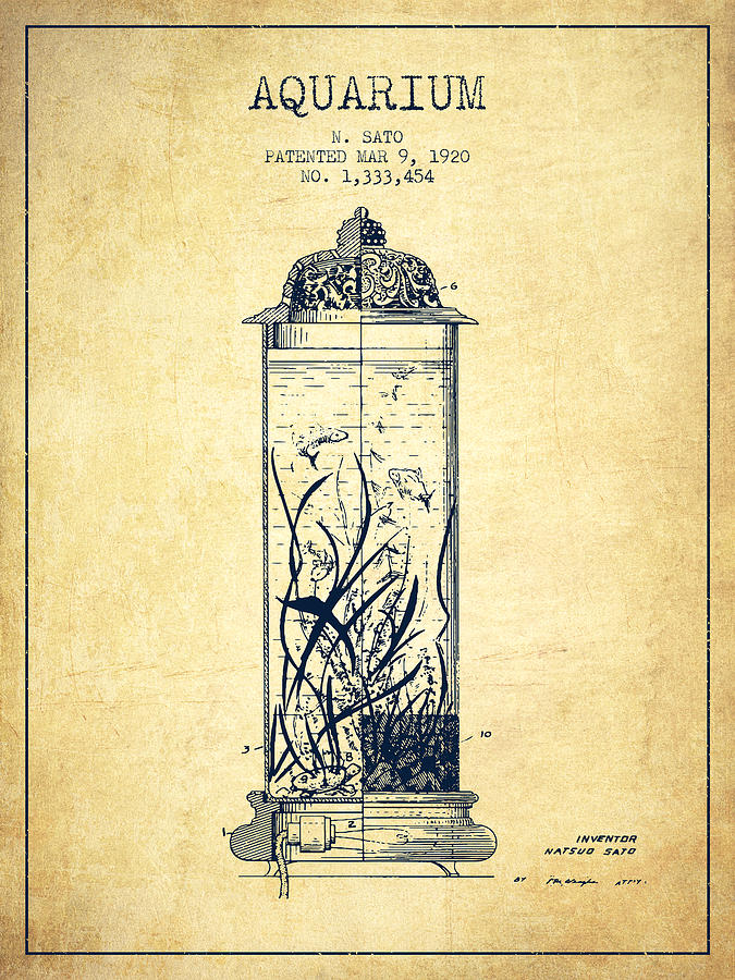 Fish Bowl Digital Art - 1902 Aquarium Patent - Vintage by Aged Pixel