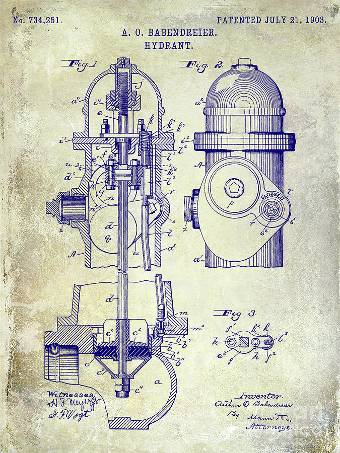 Patent Drawing Photograph - 1903 Fire Hydrant Patent by Jon Neidert