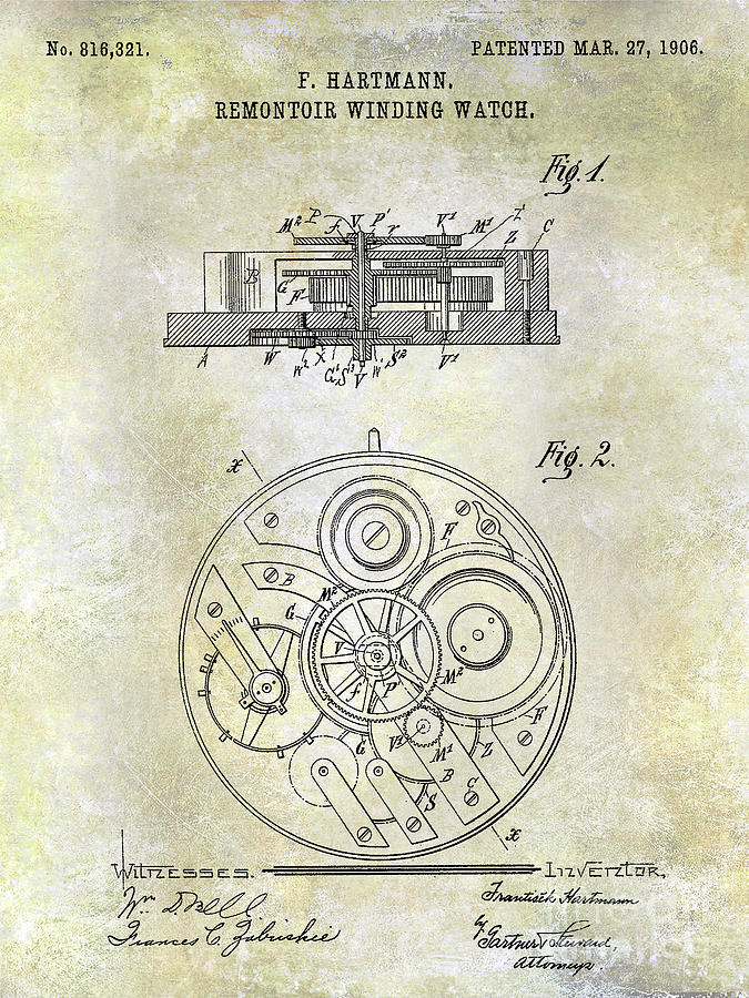 Watch Photograph - 1908 Pocket Watch Patent  1 by Jon Neidert