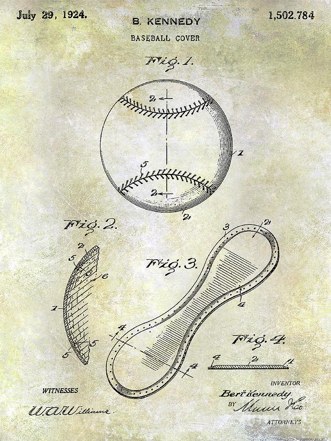 Baseball Patent Photograph - 1924 Baseball Patent by Jon Neidert