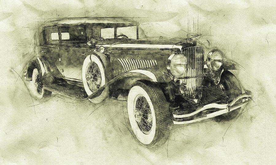 Roadster Mixed Media - 1928 Duesenberg Model J 3 - Automotive Art - Car Posters by Studio Grafiikka