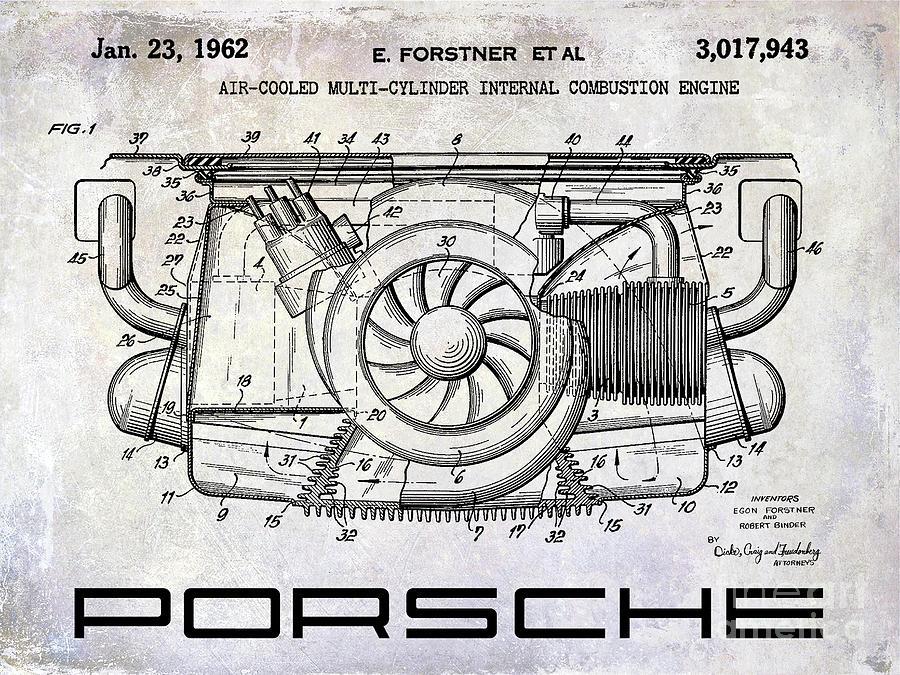 Porsche Patent Photograph - 1962 Porsche Engine Patent by Jon Neidert