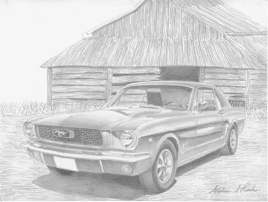 Rooks10904 Drawings Drawing - 1966 Ford Mustang Classic Car Art Print by Stephen Rooks