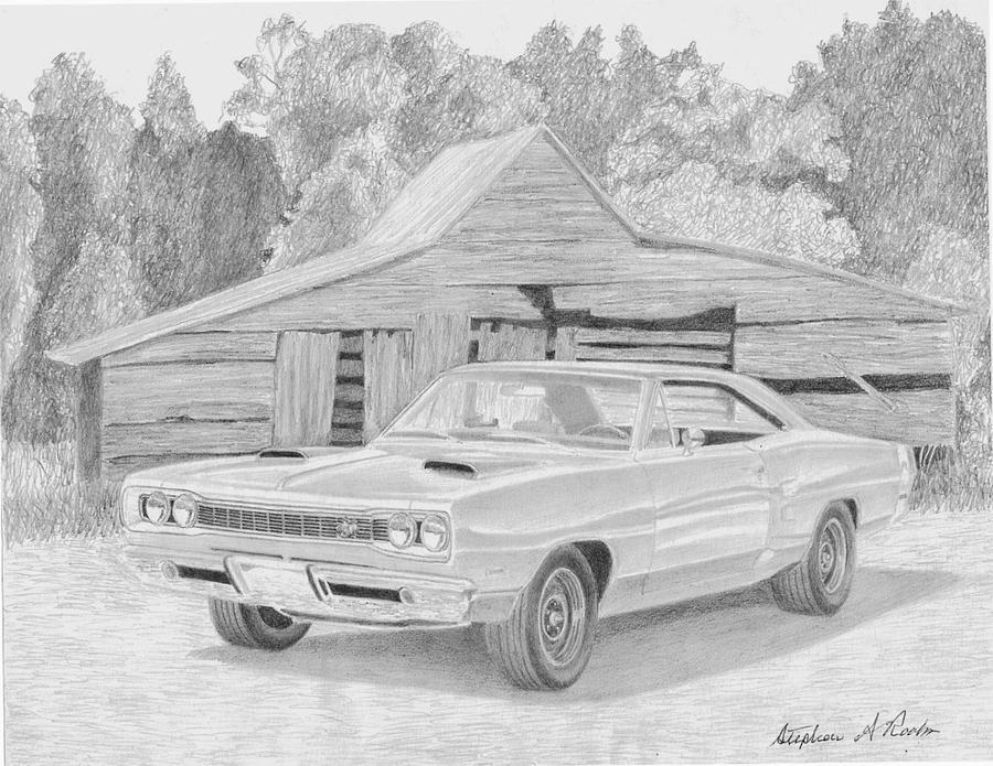 1969 dodge super bee muscle car art print drawingstephen rooks