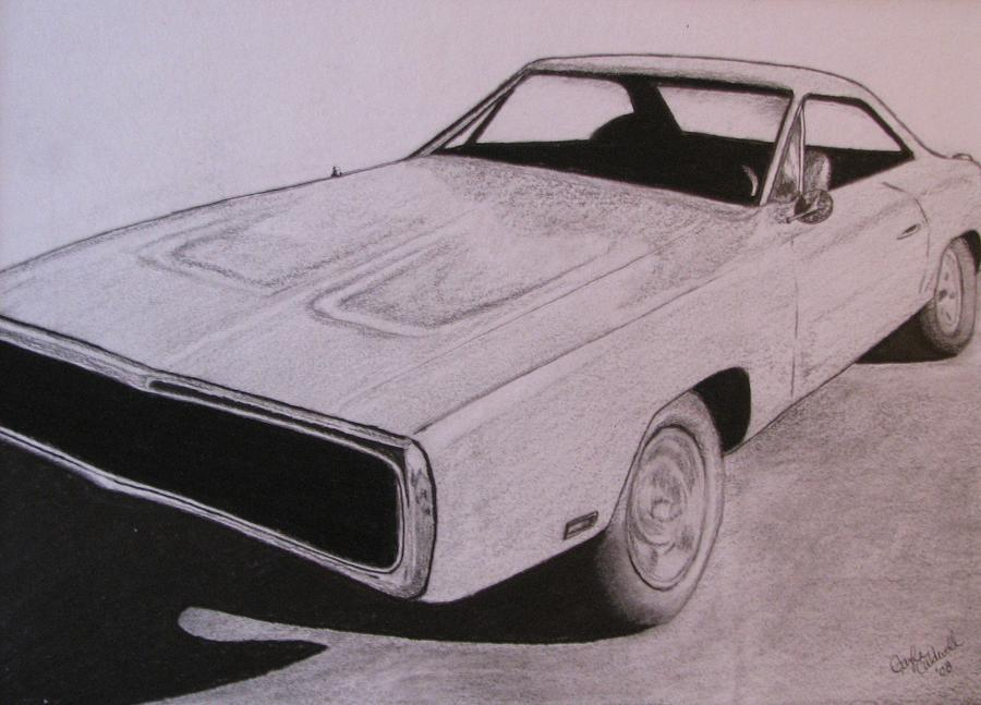 Car Rendering Drawing - 1970 Dodge Charger by Gayle Caldwell