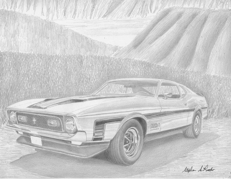 1971 Ford Mustang Mach 1 Classic Car Art Print Drawing by Stephen Rooks