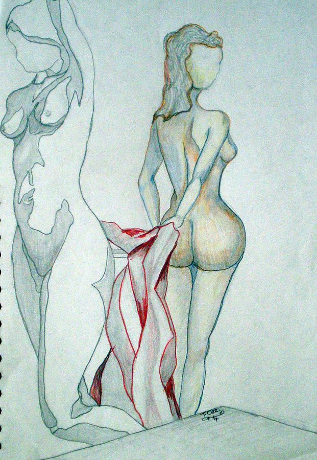 Nude Drawing - 2 Women And A Blanket by Tammera Malicki-Wong