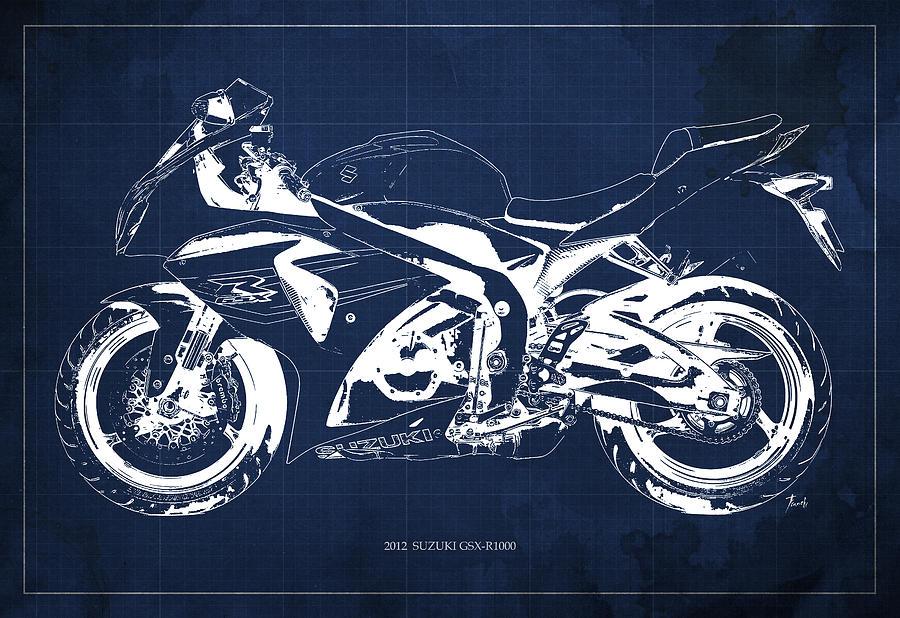 2012 suzuki gsx r1000 motorcycle blueprint art for mens cave print painting 2012 suzuki gsx r1000 motorcycle blueprint art for mens cave by pablo malvernweather Images