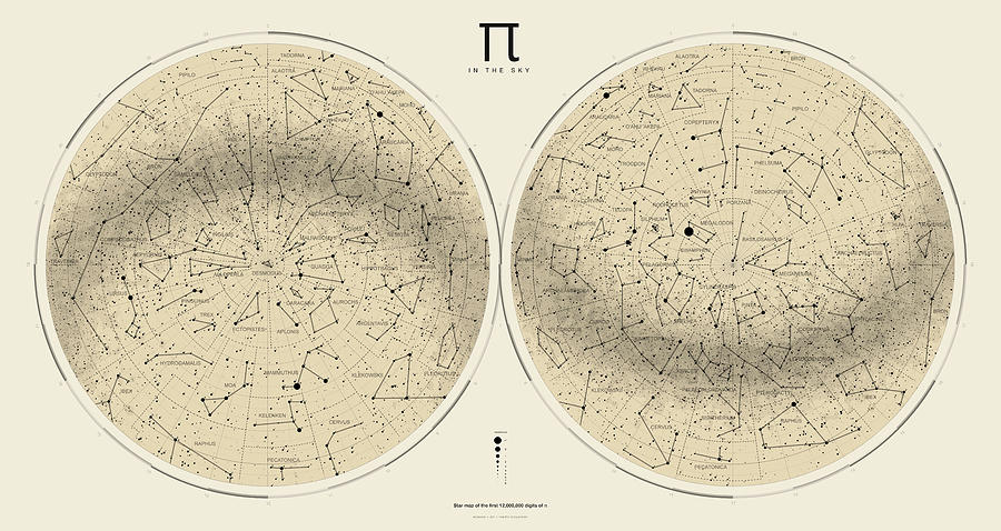 Pi Digital Art - 2017 Pi Day Star Chart Azimuthal Projection by Martin Krzywinski