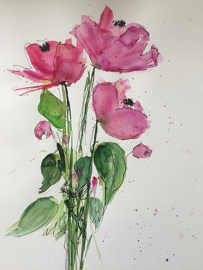 Three Painting - 3 Pink Flowers by Britta Zehm