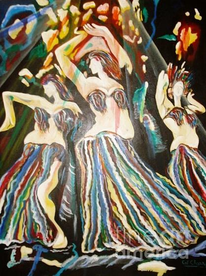 Oil Painting - 310-belly Dance by Sd Chopra